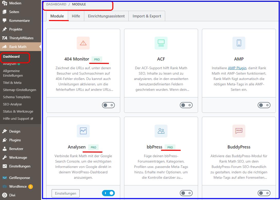 Dasboard Rank Math Pro Version