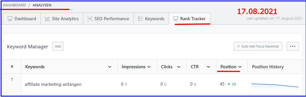 rank math erfahrungen keyword affiliate marketing anfangen