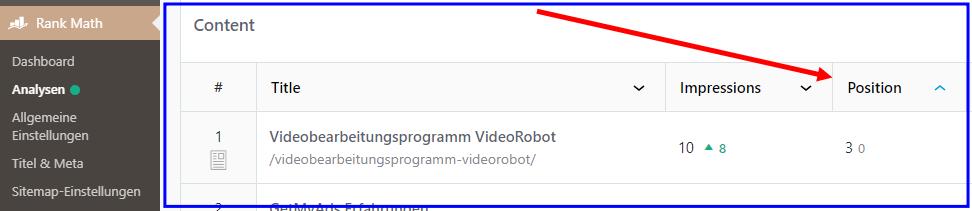 Rank Math listet Google Positionen der Seiten