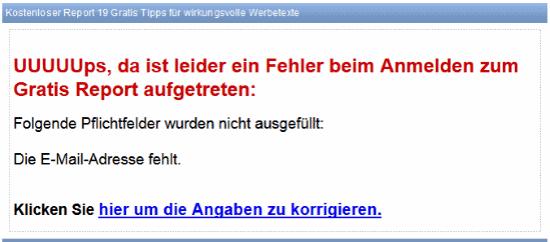 E Mail Software Superwebmailer Fehlerseite mit Fehlermeldung E Mail Adresse fehlt beim Anmelden