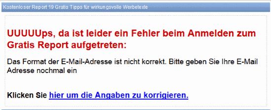 E Mail Software Superwebmailer Fehlerseite enthält falsches Format der E Mail Adresse