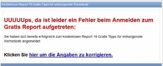 E Mail Software Superwebmailer Fehlerseite mit der Fehlermeldung EMail Adresse schon vorhanden