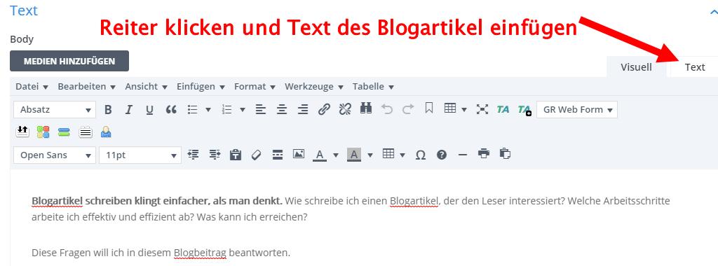 Text Blogartikel in WordPress einfügen