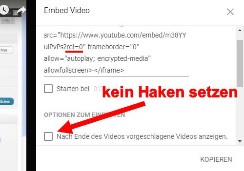 video youtube einbetten html code